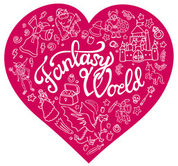 Fantasy characters and symbols in the pink heart