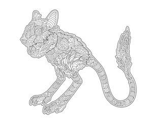 Adult coloring book page with stylized jerboa