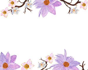Watercolor frame of violet, pink flowers and branches on a white background