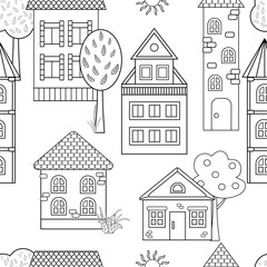Vector seamless pattern with houses for coloring book
