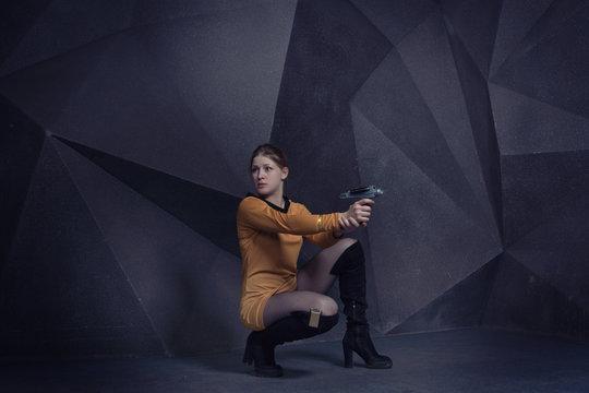 Woman in retro style sci-Fi movie