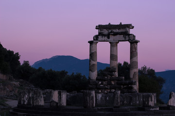 ancient Greece architecture world heritage site of soft focus colonnade in twilight evening park outdoor environment