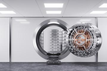 Bank vault door in premise bank. Safety concept. 3d