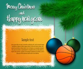 Basketball ball hanging on a Christmas tree branch