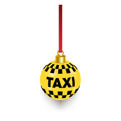 Christmas Taxi ball.Vector