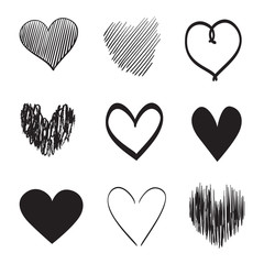 Hand drawn hearts on isolated white background. Set of love signs. Unique image for design. Line art creation. Black and white illustration. Elements for poster or flyer