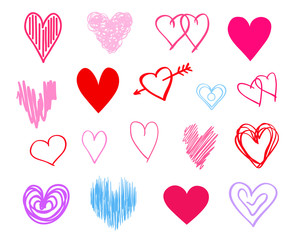 Hand drawn colorful hearts on isolated white background. Set of love signs. Unique abstract image for design. Line art creation. Colored illustration. Elements for poster or flyer