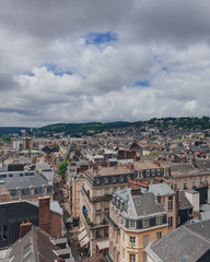 View of the streets and architecture in the historical city center of Rouen, France