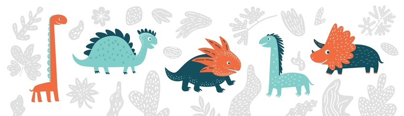 Cute vector dinosaurs set in cartoon style isolated on white background