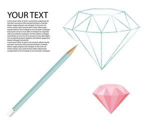 precious diamond drawn by light blue color pencil