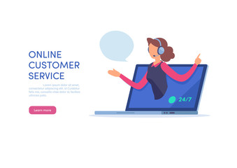 Online customer service. Call center support. Cartoon miniature  illustration vector graphic on white background.