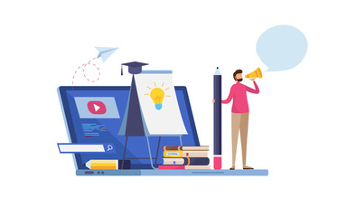 Online training, e-learning. online business courses. Study at home. Website tutorial. Education. Cartoon miniature  illustration vector graphic on white background.