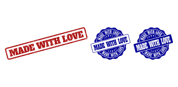 MADE WITH LOVE grunge stamp seals in red and blue colors. Vector MADE WITH LOVE marks with grunge effect. Graphic elements are rounded rectangles, rosettes, circles and text titles.