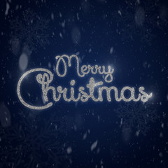Merry Christmas typography on gradient dark blue background with snow. Beautiful Christmas background with shiny silver gritter typography. Christmas greeting card text.