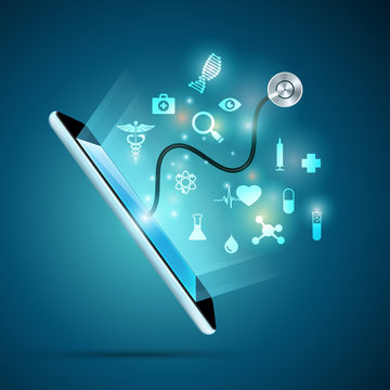 concept of electronic health or e-health, graphic of realistic smart device with stethoscope reaching out from the screen