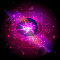Vector illustration of Horoscope circle with Zodiac signs against the space background.