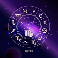 Vector illustration of 3D sign and constellation SCORPIO with Horoscope circle against the space background.