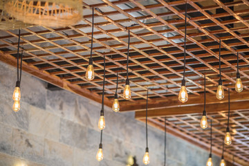 background of the beautifully decorated lamp,made from bamboo,is coordinated,decorated in the shop (food,cafe,bakery)tobe of interest to customers, with a corner for taking pictures,impressing Witness
