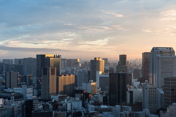 Marron chocolat Tokyo cityscape at dusk view from observatory of World Trade Center building