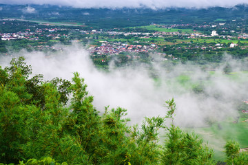 High angle view of cities fields and trees. And a lot of cloud in the sky.  - Loei ,Thailand Asia.