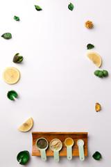 Ingredients for homemade face mask or hair. Castor oil, essential oils, mustard, dry nettle leaves.