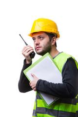 Portrait of engineer on white backgroun.