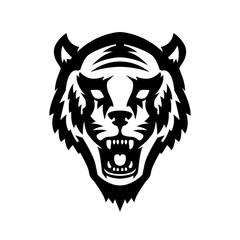 Tiger head icon on white background. Design element for logo, label, emblem, sign, poster, t shirt.