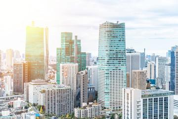 urban city skyline aerial view in Tokyo, Japan