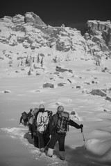 A group of climbers climbs the snow-covered slope. Black and white.