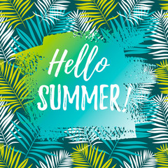 "Banner with 'Hello summer"" text on tropical leaves background. Summer design."