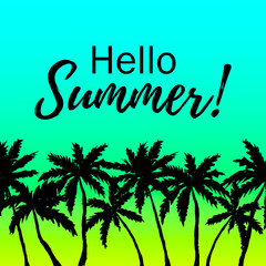 Hello Summer design with palm trees border on gradient ocean background
