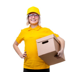 Photo of young woman courier in yellow T-shirt on white clean background
