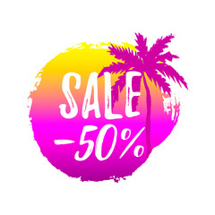 Hand drawn summer sale label. Design element for sale, fashion, banner, web, invitation, card. Space for text. Sale – 50%.