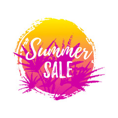 Hand drawn summer sale label. Design element for sale, fashion, banner, web, invitation, card. Space for text. Summer sale.
