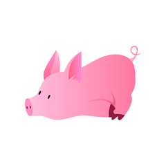 Vector illustration of a funny pig