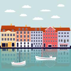 Printed kitchen splashbacks Light blue Nyhavn Copenhagen Denmark landmark vector cartoon illustration, danish decorative flat background, colorful building on river, architecture historic sight attraction, Travel sightseeing landscape