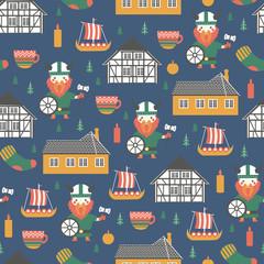Seamless pattern Kingdom of Denmark vector, Nordic colorful background, landmark Museum Of Hans Christian Andersen, Funen village of Odense, decorative danish symbols viking, tree, candles for design