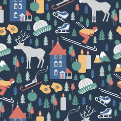 Finland travel cartoon vector seamless pattern, Finnish landmark Moomin House in Park Moomin world, Oulu, animals, flat building illustration, decorative winter scandinavian background for design