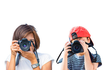 Hand woman and boy holding the camera Taking pictures on a white background.