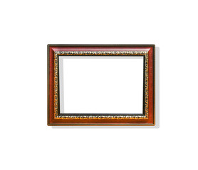 Wood  rectangle picture frame with flower carving steel patterns ar around isolated on white backgroun with clipping path
