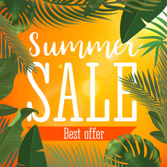 Summer sale banner. Vector illustration with tropical flowers and palm leaves. Realistic sun flare. Template for ad or web design.