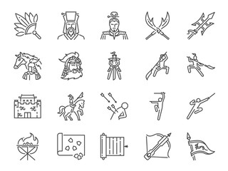 Chinese ancient war line icon set. Included the icons as military, soldier, battle, weapon, fight and more.
