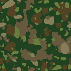 Camouflage pattern.  Military  seamless texture. Green, brown. forest, soldier camo background. Vector fabric textile print designs.