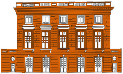 Vector cartoon illustration of an urban landscape with large modern buildings. - Images vectorielles