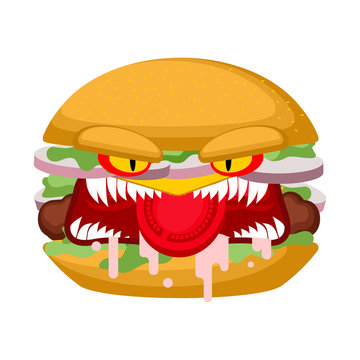 Angry burger. grumpy evil hamburger. Dangerous mad fast food. crazy fastfood with teeth.