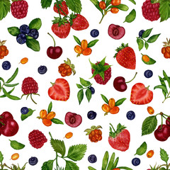 Seamless pattern with beautiful berries of raspberries, cloudberries, blueberries, blueberries, strawberries, cherries and sea-buckthorn on a white background. Watercolor handmade berries.