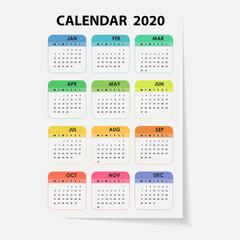 2020 Calendar Template.Calendar 2020 Set of 12 Months.Yearly calendar vector design stationery template.Vector illustration.