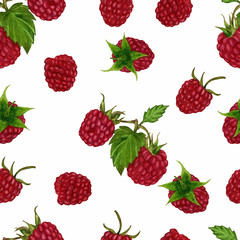 Seamless pattern with raspberry berries on white background. Watercolour handmade. For your design of wrapping paper, fabric, etc.