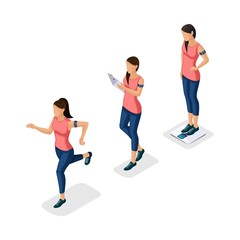 Trendy Isometric people, 3d athlete, young girl, healthy lifestyle, fitness, sport running jogging isolated on light background