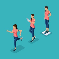 Trendy Isometric people, 3d athlete, young girl, healthy lifestyle, fitness, sport running jogging isolated on blue background